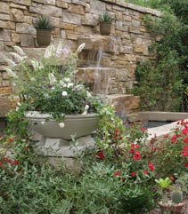 Waterfall In Rose Garden